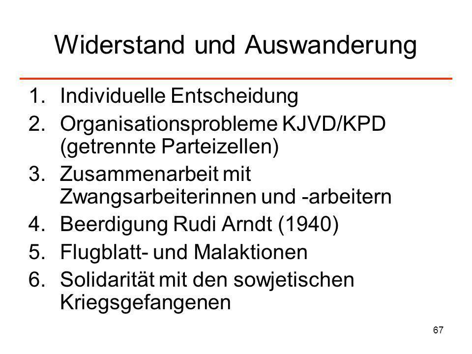 67 Widerstand und Auswanderung 1.Individuelle Entscheidung 2.Organisationsprobleme KJVD/KPD (getrennte Parteizellen) 3.Zusammenarbeit mit Zwangsarbeit
