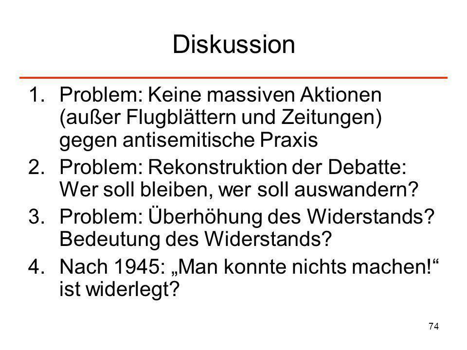 74 Diskussion 1.Problem: Keine massiven Aktionen (außer Flugblättern und Zeitungen) gegen antisemitische Praxis 2.Problem: Rekonstruktion der Debatte: