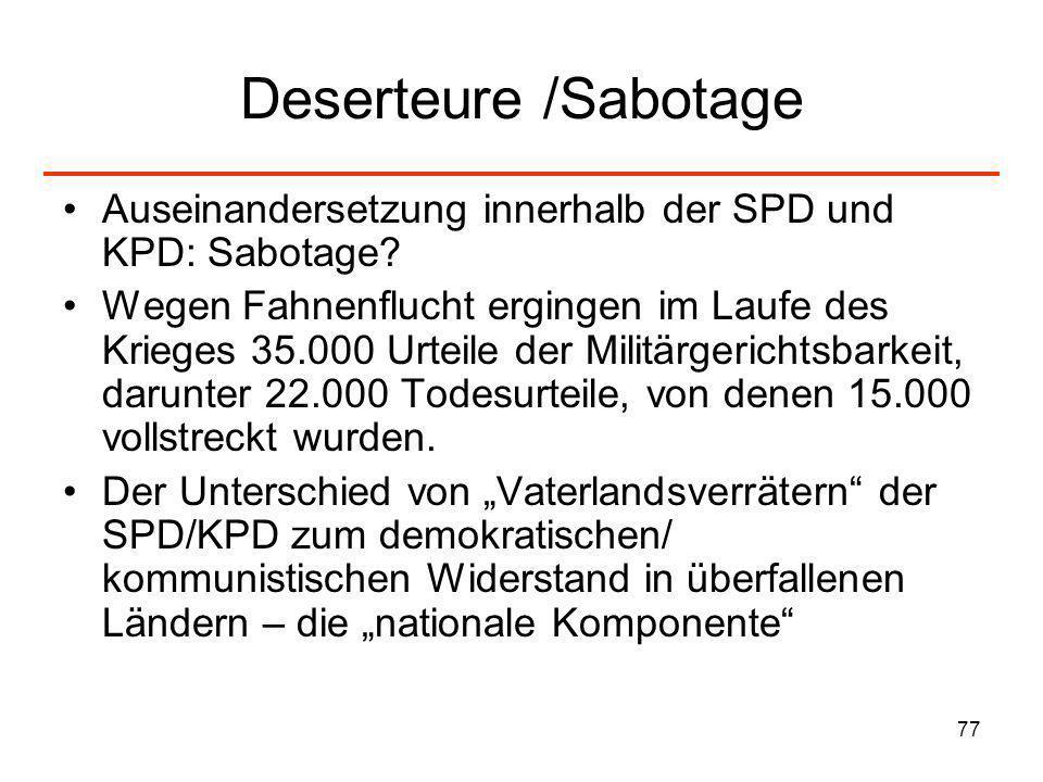 77 Deserteure /Sabotage Auseinandersetzung innerhalb der SPD und KPD: Sabotage? Wegen Fahnenflucht ergingen im Laufe des Krieges 35.000 Urteile der Mi