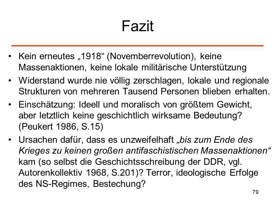 79 Fazit Kein erneutes 1918 (Novemberrevolution), keine Massenaktionen, keine lokale militärische Unterstützung Widerstand wurde nie völlig zerschlage