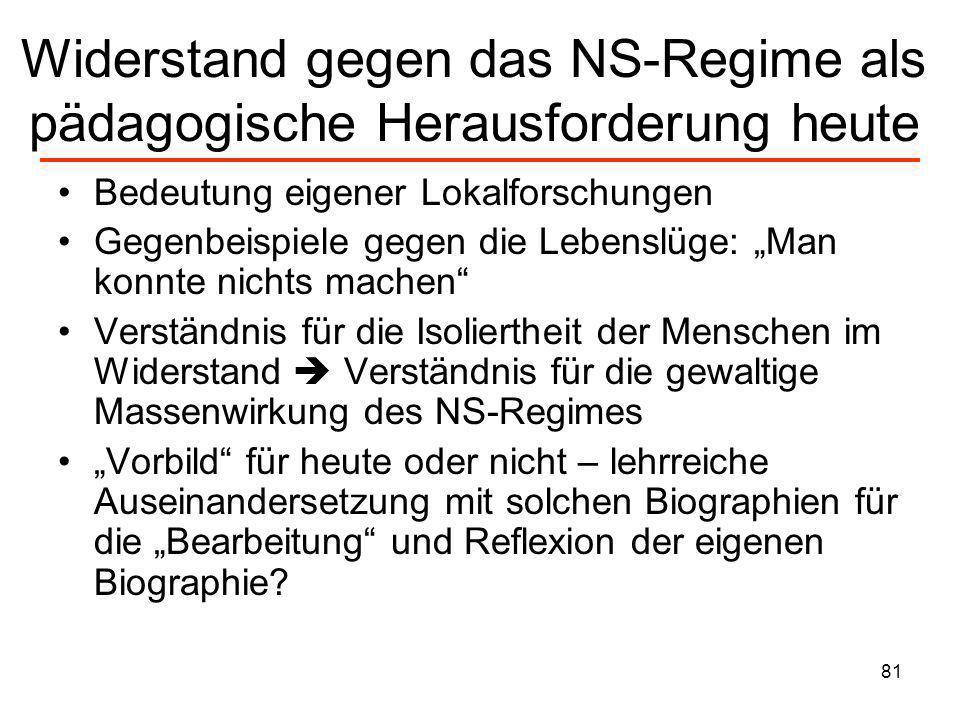 81 Widerstand gegen das NS-Regime als pädagogische Herausforderung heute Bedeutung eigener Lokalforschungen Gegenbeispiele gegen die Lebenslüge: Man k