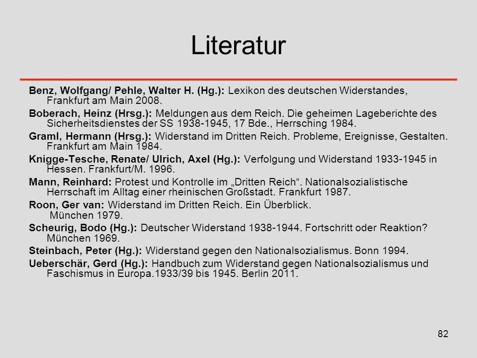 82 Literatur Benz, Wolfgang/ Pehle, Walter H. (Hg.): Lexikon des deutschen Widerstandes, Frankfurt am Main 2008. Boberach, Heinz (Hrsg.): Meldungen au