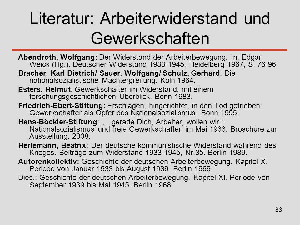 83 Literatur: Arbeiterwiderstand und Gewerkschaften Abendroth, Wolfgang: Der Widerstand der Arbeiterbewegung. In: Edgar Weick (Hg.): Deutscher Widerst