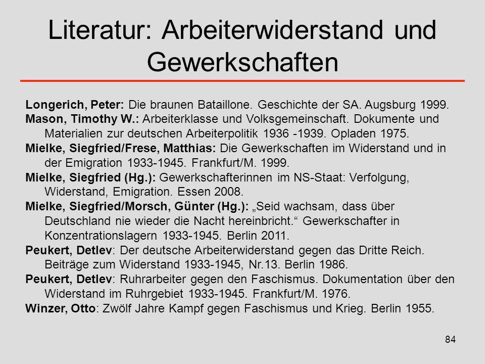84 Literatur: Arbeiterwiderstand und Gewerkschaften Longerich, Peter: Die braunen Bataillone. Geschichte der SA. Augsburg 1999. Mason, Timothy W.: Arb
