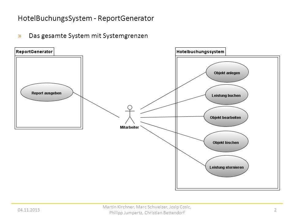 HotelBuchungsSystem - ReportGenerator »Das gesamte System mit Systemgrenzen 04.11.2013 Martin Kirchner, Marc Schweizer, Josip Cosic, Philipp Jumpertz,