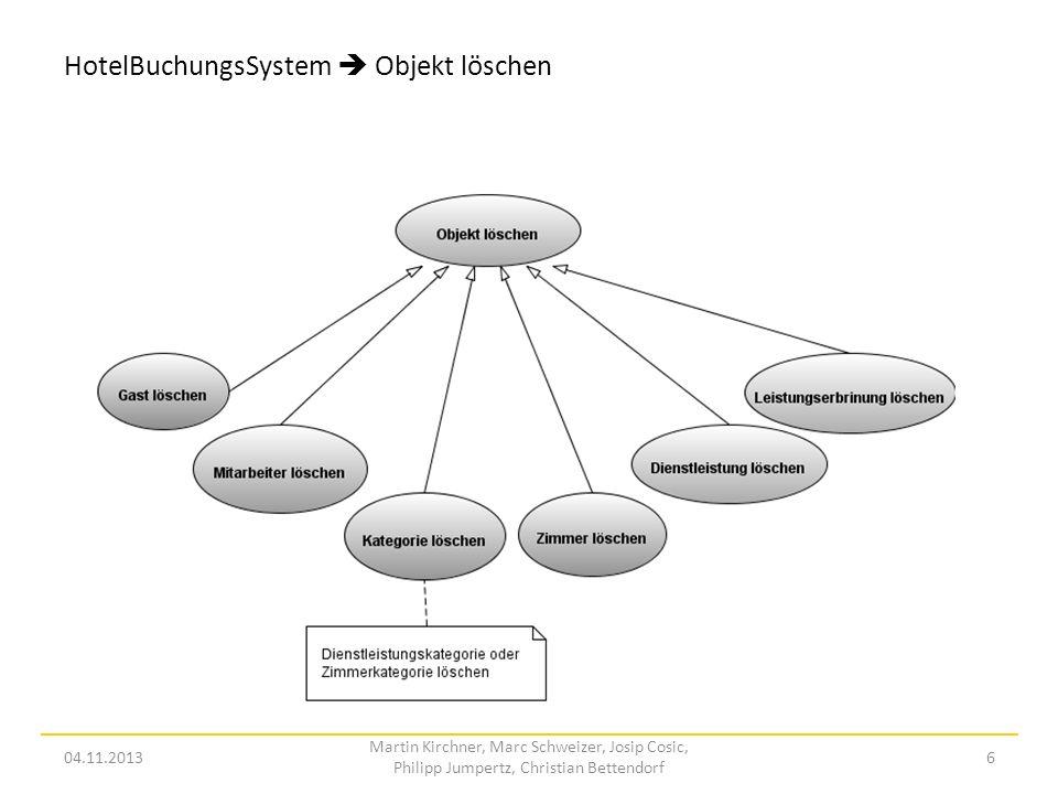 HotelBuchungsSystem Leistung stornieren 04.11.2013 Martin Kirchner, Marc Schweizer, Josip Cosic, Philipp Jumpertz, Christian Bettendorf 7