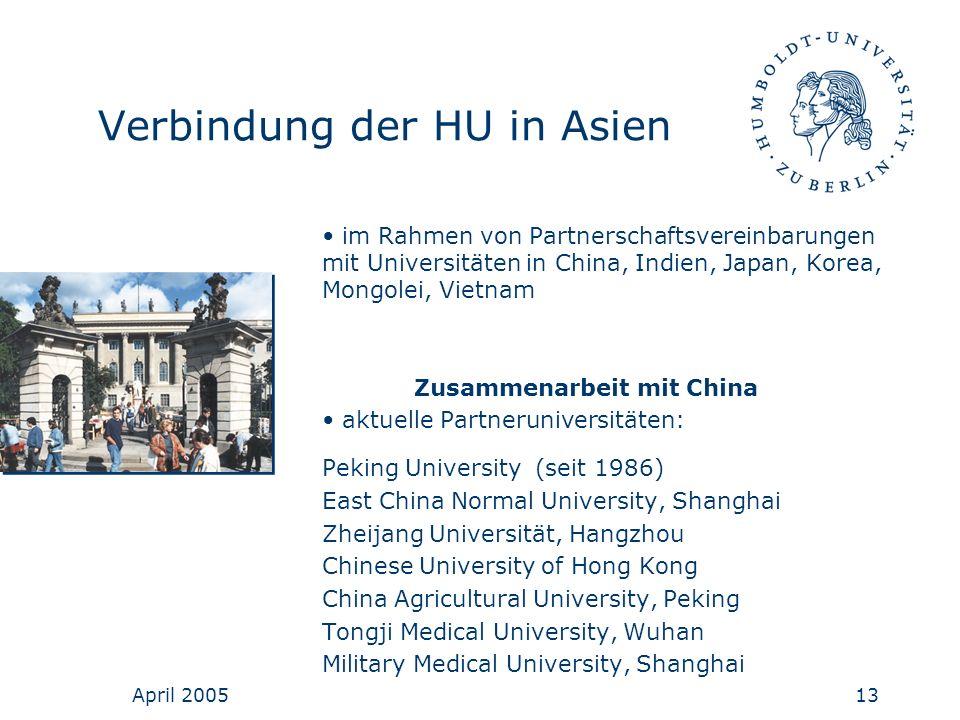 April 200513 Verbindung der HU in Asien im Rahmen von Partnerschaftsvereinbarungen mit Universitäten in China, Indien, Japan, Korea, Mongolei, Vietnam