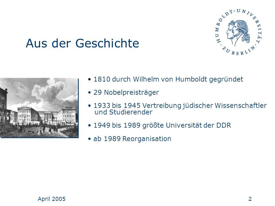 April 20052 Aus der Geschichte 1810 durch Wilhelm von Humboldt gegründet 29 Nobelpreisträger 1933 bis 1945 Vertreibung jüdischer Wissenschaftler und S