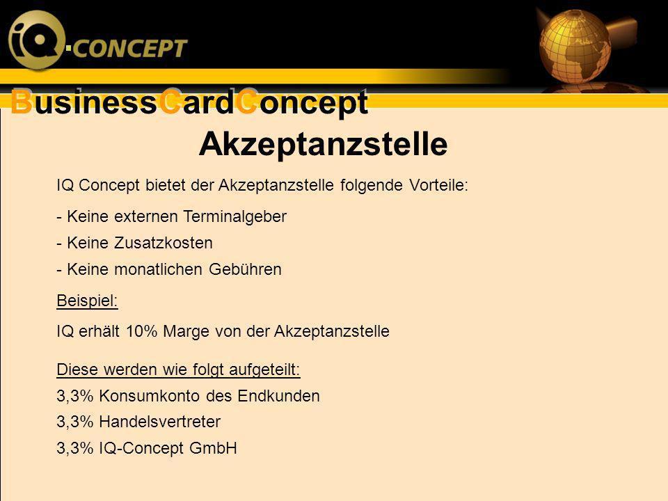 Akzeptanzstelle IQ Concept bietet der Akzeptanzstelle folgende Vorteile: - Keine externen Terminalgeber - Keine Zusatzkosten - Keine monatlichen Gebüh
