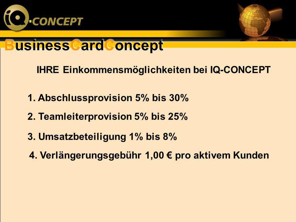 BusinessCardConcept IHRE Einkommensmöglichkeiten bei IQ-CONCEPT 1. Abschlussprovision 5% bis 30% 2. Teamleiterprovision 5% bis 25% 3. Umsatzbeteiligun