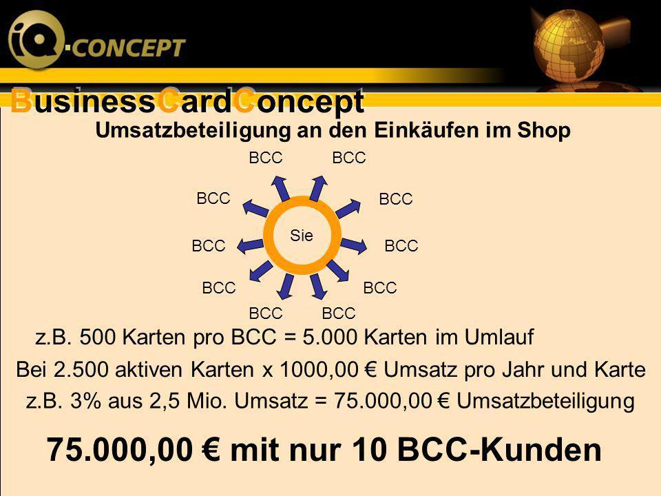 BusinessCardConcept Umsatzbeteiligung an den Einkäufen im Shop Bei 2.500 aktiven Karten x 1000,00 Umsatz pro Jahr und Karte z.B. 3% aus 2,5 Mio. Umsat