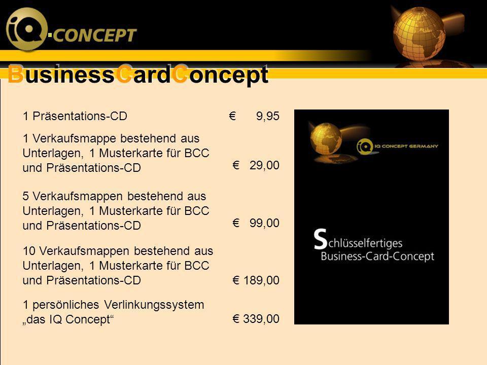 BusinessCardConcept 1 Präsentations-CD 1 Verkaufsmappe bestehend aus Unterlagen, 1 Musterkarte für BCC und Präsentations-CD 5 Verkaufsmappen bestehend