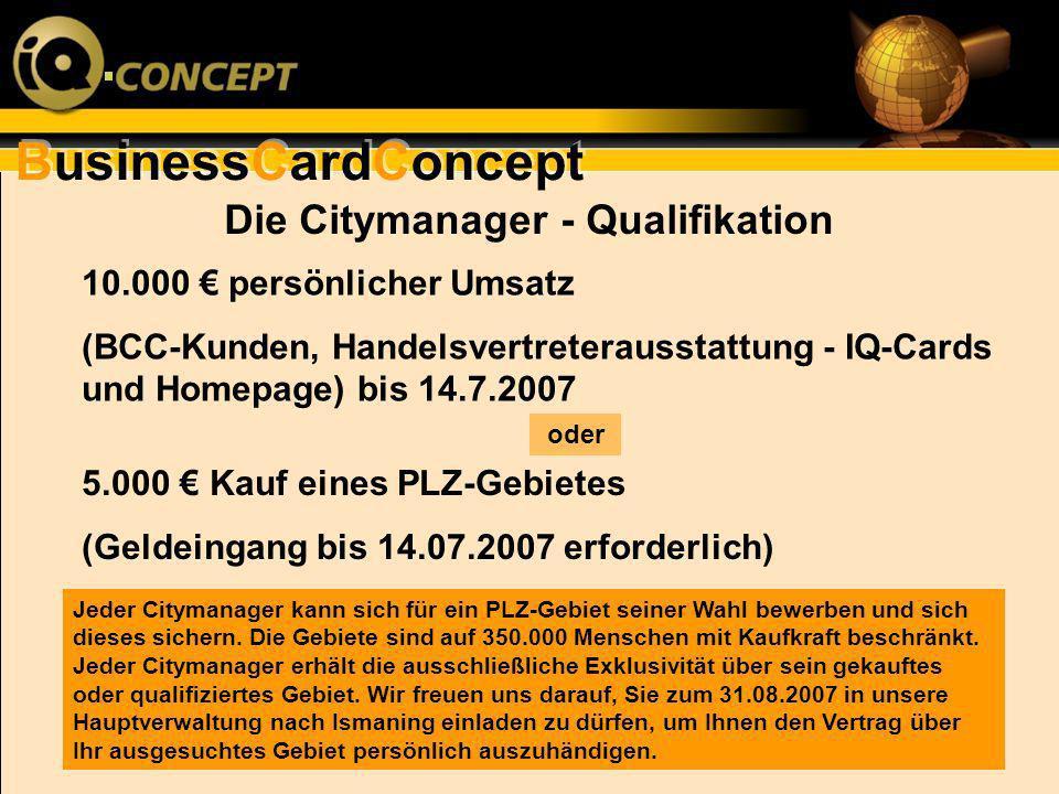 BusinessCardConcept Die Citymanager - Qualifikation 10.000 persönlicher Umsatz (BCC-Kunden, Handelsvertreterausstattung - IQ-Cards und Homepage) bis 1
