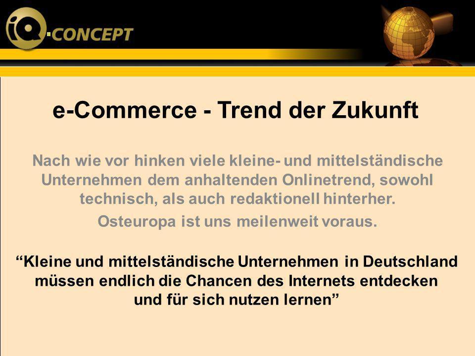 e-Commerce - Trend der Zukunft Von den restlichen 70%, die einen eigenen Onlineauftritt haben machen wiederum 30-50 % eklatante Fehler in ihrem Auftritt, der Kommunikation und Usability der Seite Laut einer aktuellen Studie sollen nach wie vor bis zu 30% der kleinen- u.