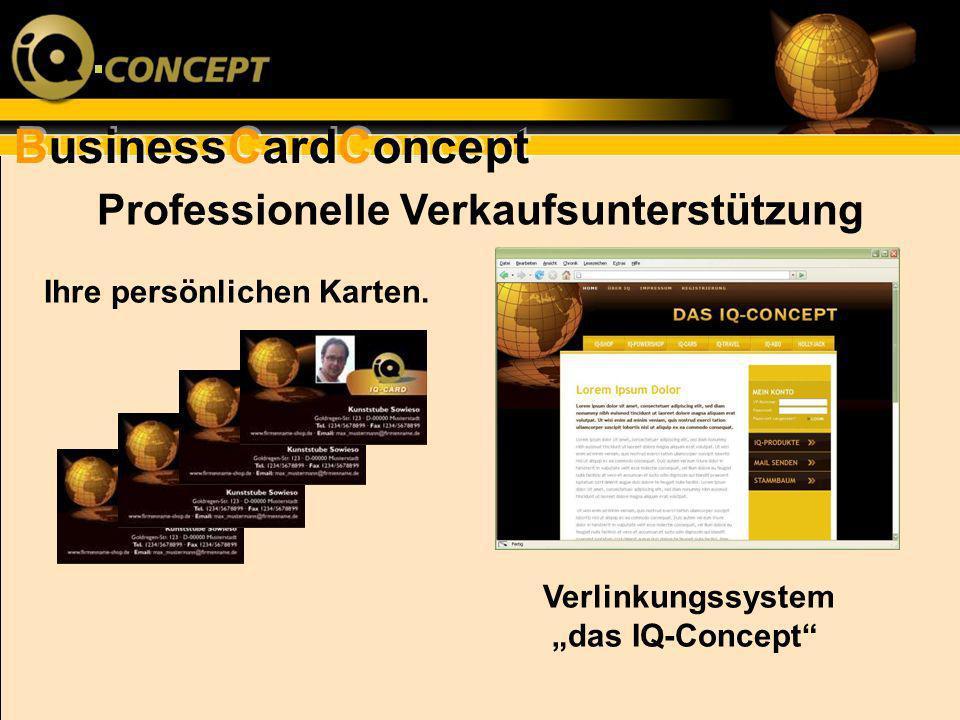 BusinessCardConcept Ihre persönlichen Karten. Professionelle Verkaufsunterstützung Verlinkungssystem das IQ-Concept