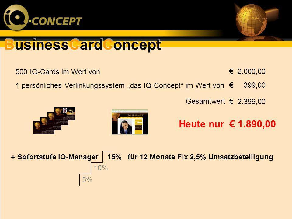 BusinessCardConcept 500 IQ-Cards im Wert von 1 persönliches Verlinkungssystem das IQ-Concept im Wert von Gesamtwert 2.000,00 399,00 2.399,00 1.890,00H