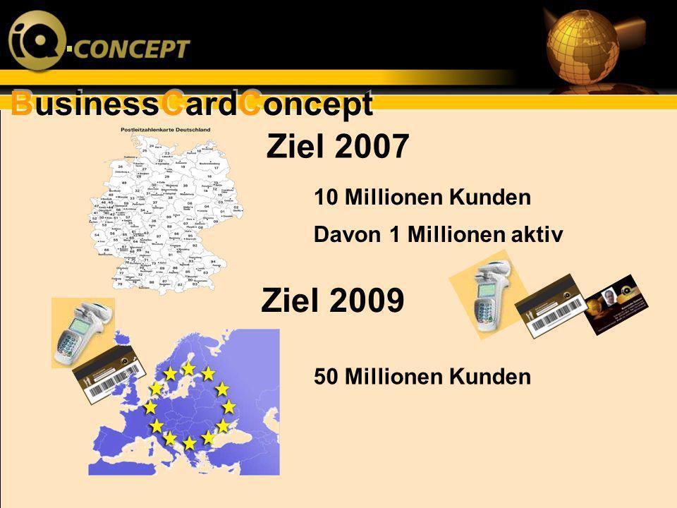 BusinessCardConcept Ziel 2007 Ziel 2009 10 Millionen Kunden Davon 1 Millionen aktiv 50 Millionen Kunden