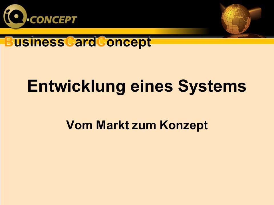 Entwicklung eines Systems Vom Markt zum Konzept
