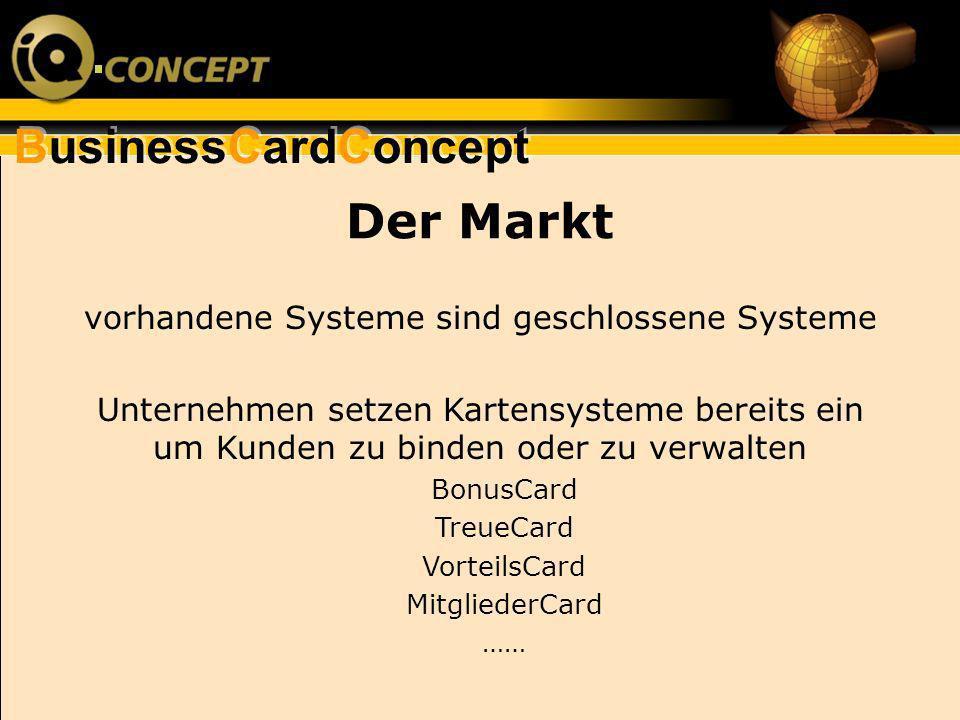 BusinessCardConcept Der Markt vorhandene Systeme sind geschlossene Systeme Unternehmen setzen Kartensysteme bereits ein um Kunden zu binden oder zu ve