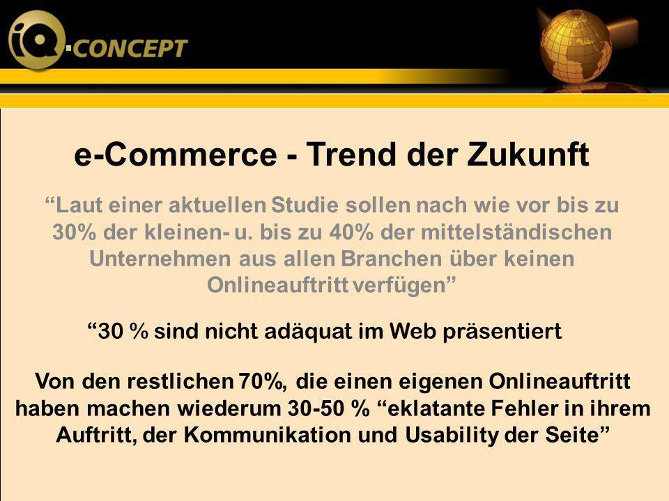 e-Commerce - Trend der Zukunft Von den restlichen 70%, die einen eigenen Onlineauftritt haben machen wiederum 30-50 % eklatante Fehler in ihrem Auftri