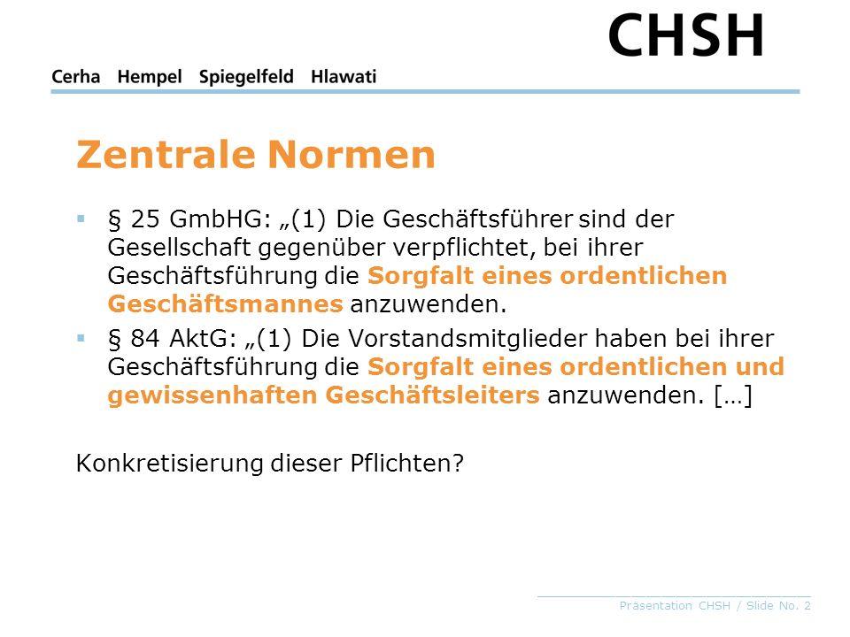 _____________________________________ Präsentation CHSH / Slide No. 2 Zentrale Normen § 25 GmbHG: (1) Die Geschäftsführer sind der Gesellschaft gegenü