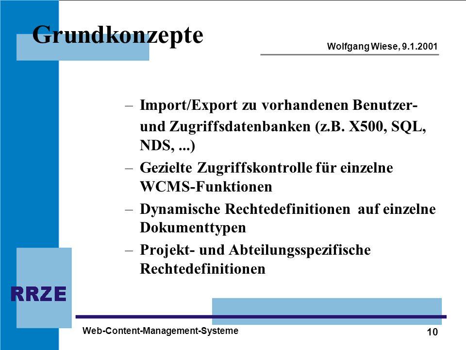 10 Wolfgang Wiese, 9.1.2001 Web-Content-Management-Systeme Grundkonzepte –Import/Export zu vorhandenen Benutzer- und Zugriffsdatenbanken (z.B. X500, S