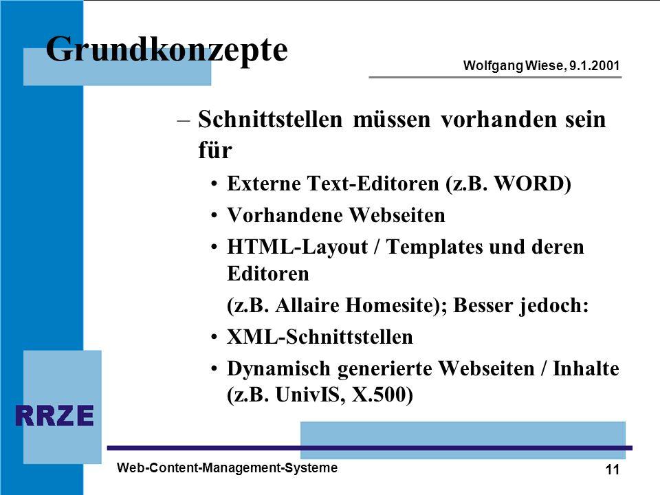 11 Wolfgang Wiese, 9.1.2001 Web-Content-Management-Systeme Grundkonzepte –Schnittstellen müssen vorhanden sein für Externe Text-Editoren (z.B. WORD) V