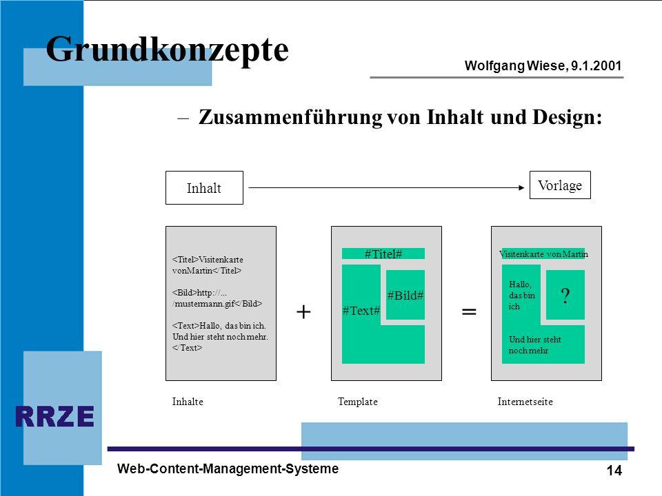 14 Wolfgang Wiese, 9.1.2001 Web-Content-Management-Systeme Grundkonzepte –Zusammenführung von Inhalt und Design: + #Titel# #Bild# #Text# Template Visi