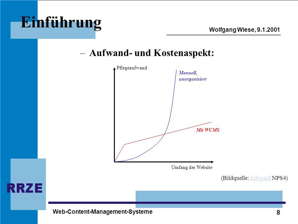 8 Wolfgang Wiese, 9.1.2001 Web-Content-Management-Systeme Einführung –Aufwand- und Kostenaspekt: Umfang der Website Pflegeaufwand Manuell, unorganisie