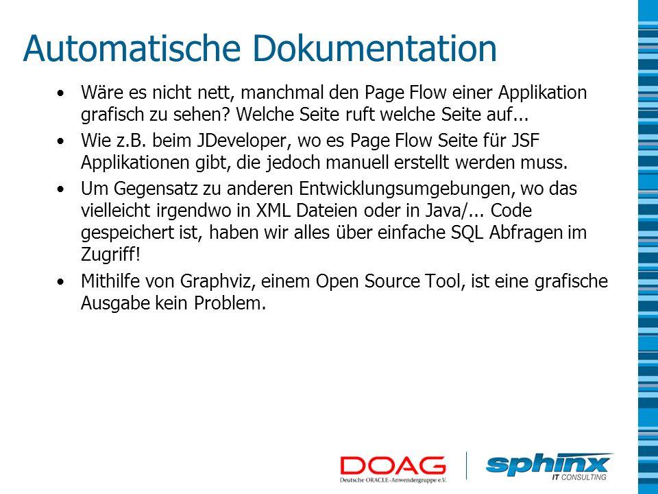 Automatische Dokumentation Wäre es nicht nett, manchmal den Page Flow einer Applikation grafisch zu sehen? Welche Seite ruft welche Seite auf... Wie z