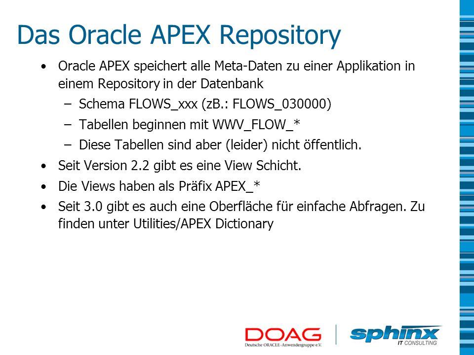 Das Oracle APEX Repository Oracle APEX speichert alle Meta-Daten zu einer Applikation in einem Repository in der Datenbank –Schema FLOWS_xxx (zB.: FLO
