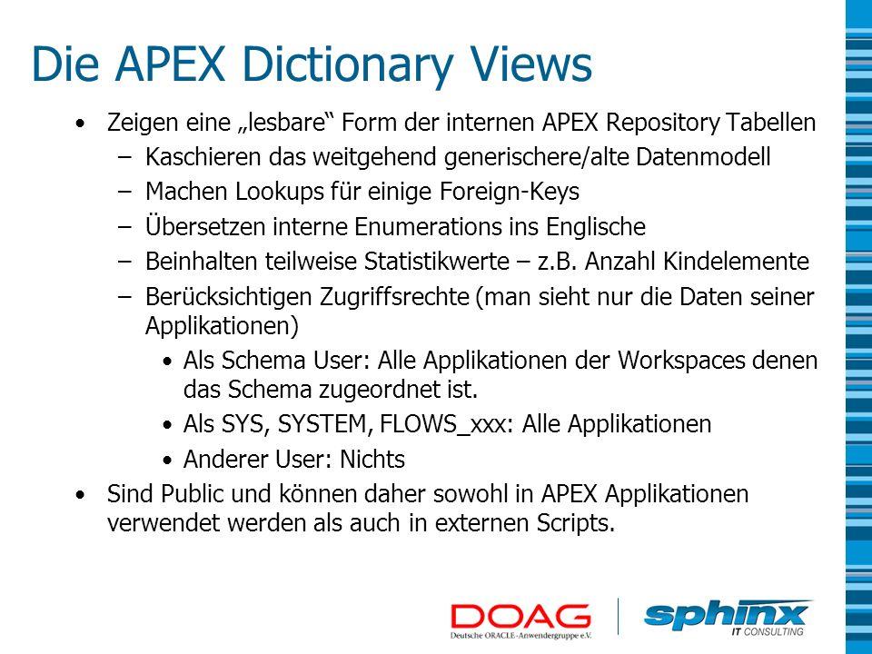 Die APEX Dictionary Views Zeigen eine lesbare Form der internen APEX Repository Tabellen –Kaschieren das weitgehend generischere/alte Datenmodell –Mac