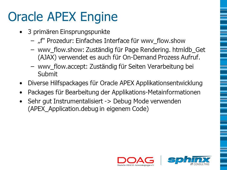 Oracle APEX Engine 3 primären Einsprungspunkte –f Prozedur: Einfaches Interface für wwv_flow.show –wwv_flow.show: Zuständig für Page Rendering. htmldb