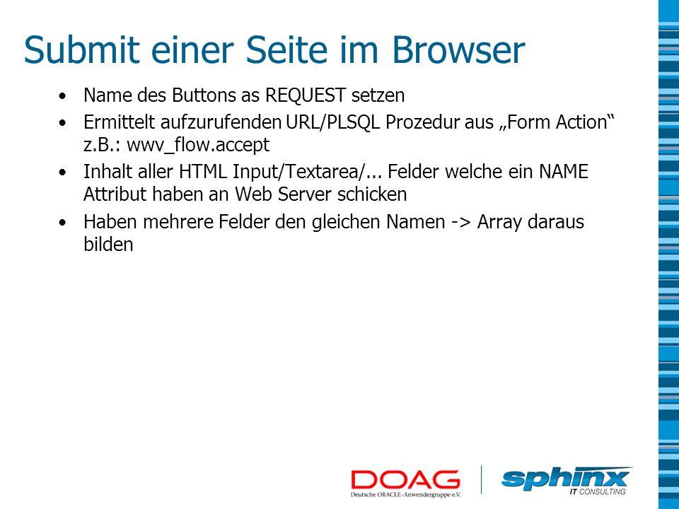 Submit einer Seite im Browser Name des Buttons as REQUEST setzen Ermittelt aufzurufenden URL/PLSQL Prozedur aus Form Action z.B.: wwv_flow.accept Inha