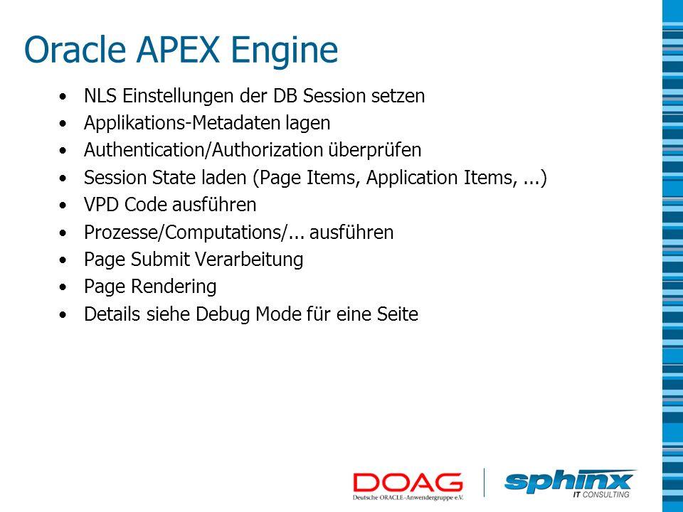 Ausführen der SQL Statements und des PL/SQL Codes Datenbank Session läuft unter User APEX_PUBLIC_USER –Darum liefert SELECT USER FROM DUAL immer APEX_PUBLIC_USER und nicht den Applikation User -> V(APP_USER) –Auch bei Database User Authentication.