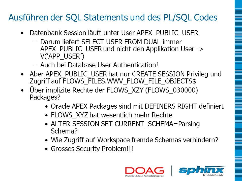 Ausführen der SQL Statements und des PL/SQL Codes Datenbank Session läuft unter User APEX_PUBLIC_USER –Darum liefert SELECT USER FROM DUAL immer APEX_