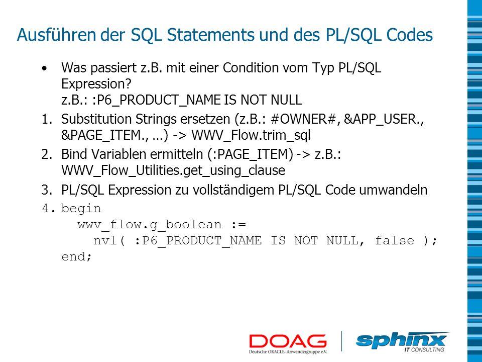 Ausführen der SQL Statements und des PL/SQL Codes Was passiert z.B. mit einer Condition vom Typ PL/SQL Expression? z.B.: :P6_PRODUCT_NAME IS NOT NULL