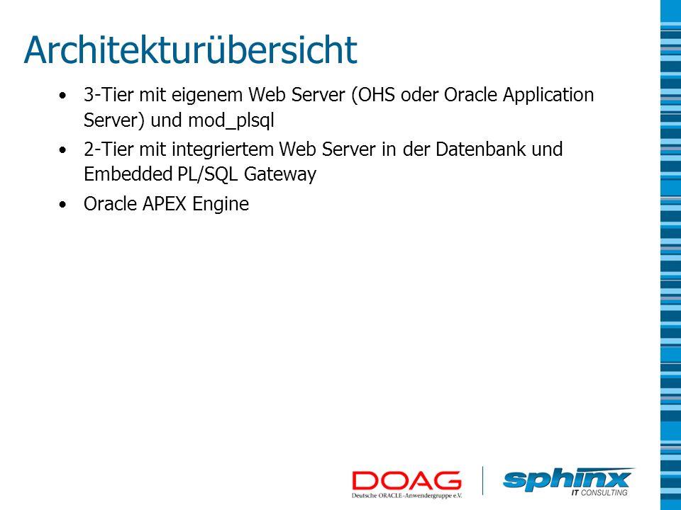 Architekturübersicht 3-Tier mit eigenem Web Server (OHS oder Oracle Application Server) und mod_plsql 2-Tier mit integriertem Web Server in der Datenb