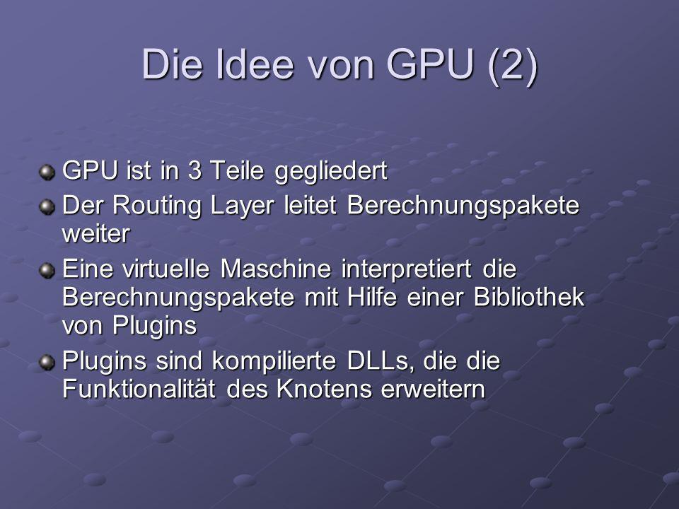 Die Idee von GPU (2) GPU ist in 3 Teile gegliedert Der Routing Layer leitet Berechnungspakete weiter Eine virtuelle Maschine interpretiert die Berechn