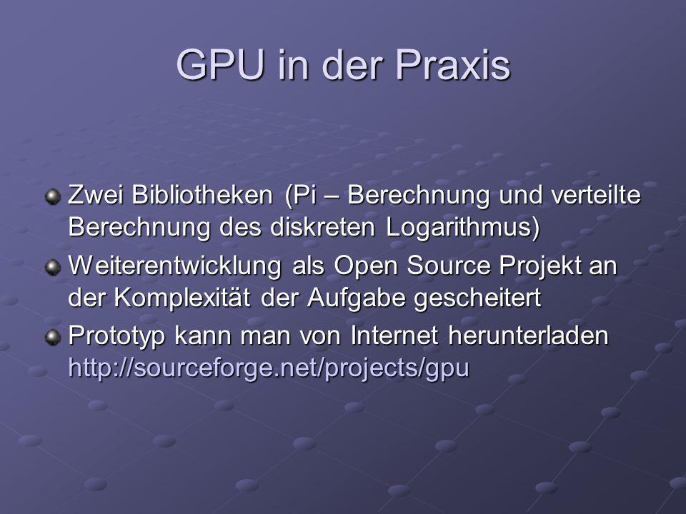 GPU in der Praxis Zwei Bibliotheken (Pi – Berechnung und verteilte Berechnung des diskreten Logarithmus) Weiterentwicklung als Open Source Projekt an