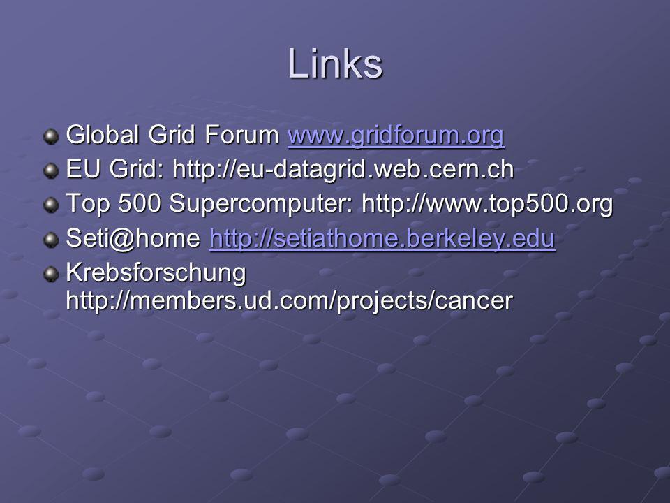 Links Global Grid Forum www.gridforum.org www.gridforum.org EU Grid: http://eu-datagrid.web.cern.ch Top 500 Supercomputer: http://www.top500.org Seti@