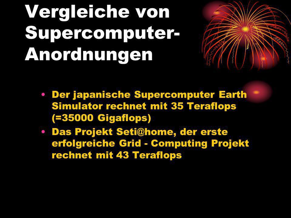 Vergleiche von Supercomputer- Anordnungen Der japanische Supercomputer Earth Simulator rechnet mit 35 Teraflops (=35000 Gigaflops) Das Projekt Seti@ho