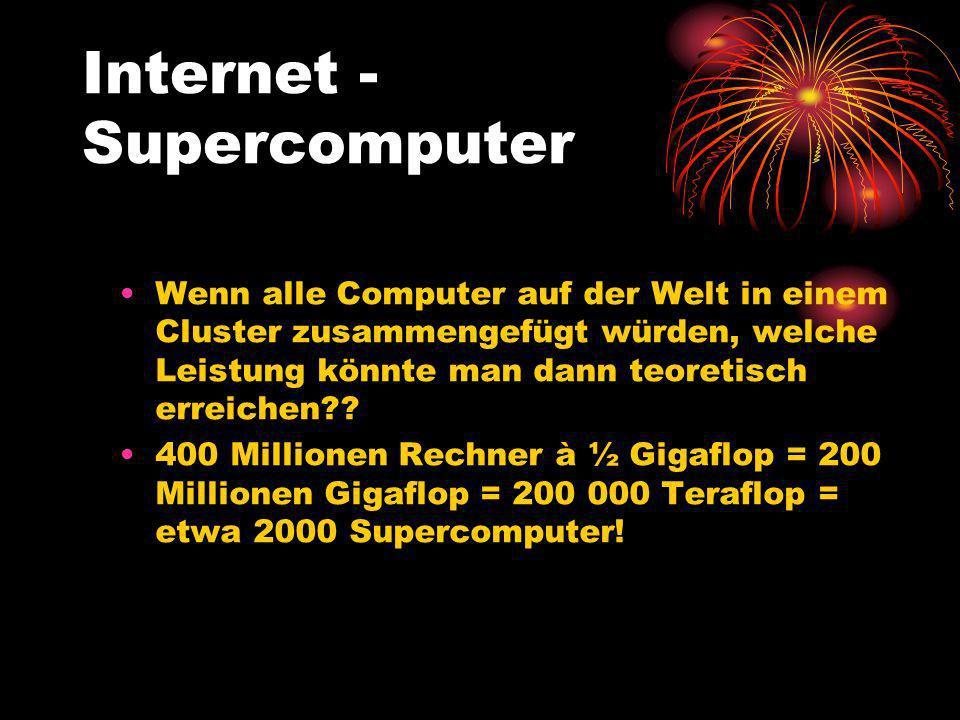 Internet - Supercomputer Wenn alle Computer auf der Welt in einem Cluster zusammengefügt würden, welche Leistung könnte man dann teoretisch erreichen?