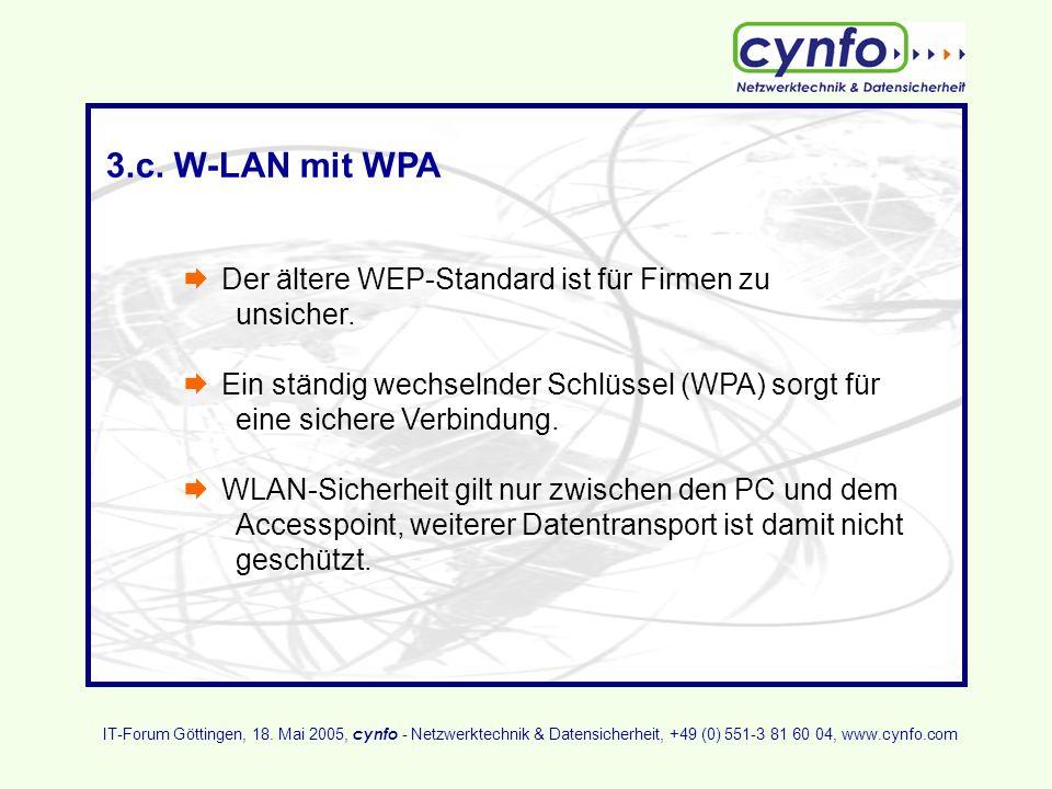 3.c. W-LAN mit WPA Der ältere WEP-Standard ist für Firmen zu unsicher. Ein ständig wechselnder Schlüssel (WPA) sorgt für eine sichere Verbindung. WLAN