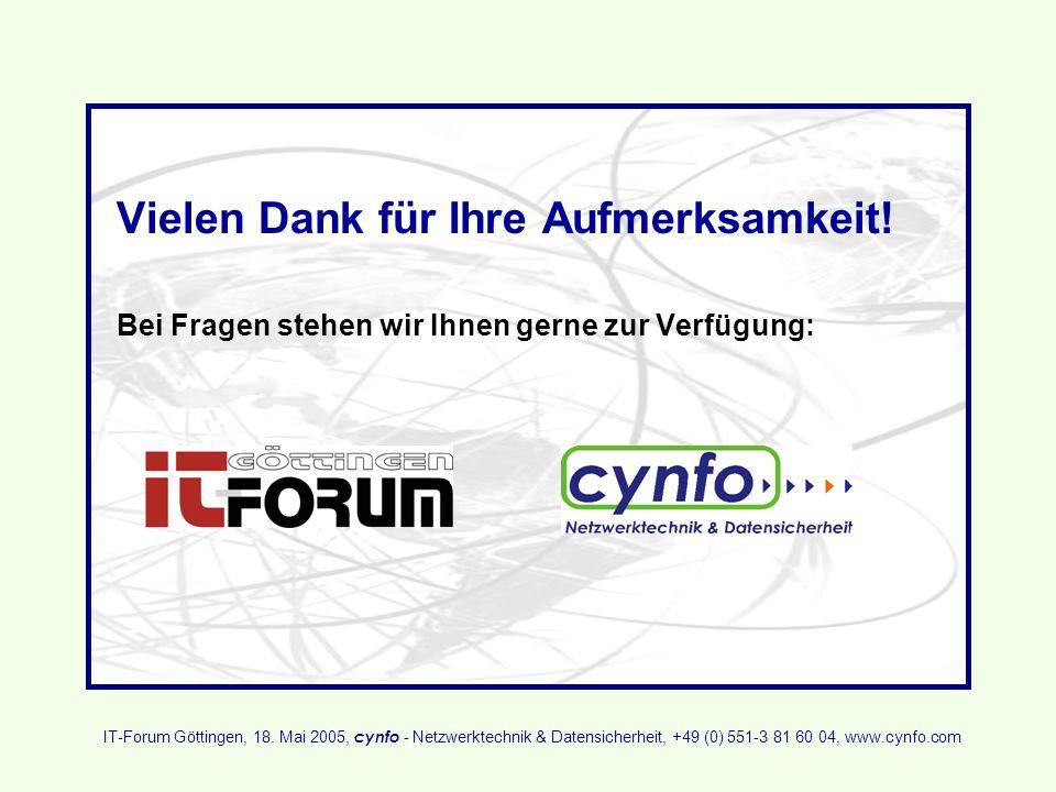 Vielen Dank für Ihre Aufmerksamkeit! Bei Fragen stehen wir Ihnen gerne zur Verfügung: IT-Forum Göttingen, 18. Mai 2005, cynfo - Netzwerktechnik & Date