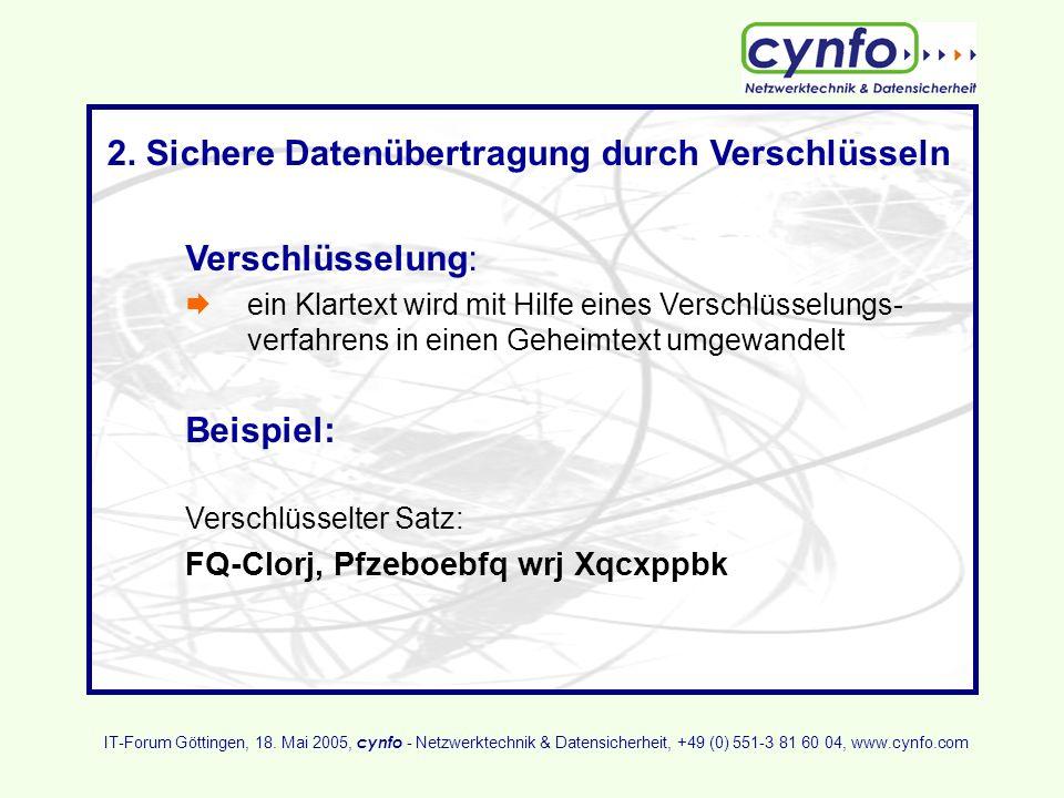 Auflösung: Verschlüsselter Satz: FQ-Clorj, Pfzeboebfq wrj Xqcxppbk Schlüssel S (S=3) und Algorithmus (Buchstabe um Schlüssel S alphabetisch herabsetzen) machen daraus: Unverschlüsselter Satz: IT-Forum, Sicherheit zum Anfassen IT-Forum Göttingen, 18.