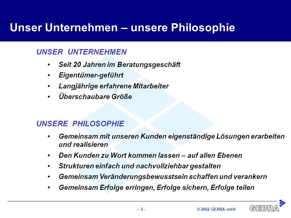 - 3 -© 2002 GEBRA mbH UNSERE PHILOSOPHIE Gemeinsam mit unseren Kunden eigenständige Lösungen erarbeiten und realisieren Den Kunden zu Wort kommen lass