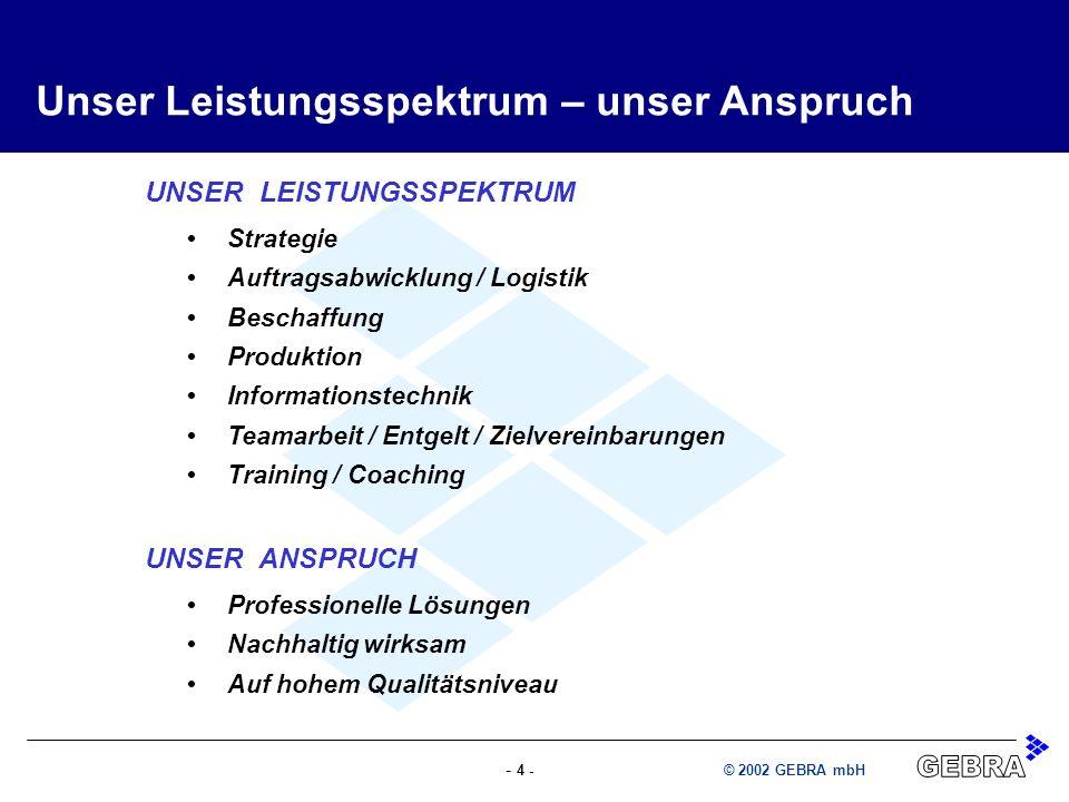 - 4 -© 2002 GEBRA mbH UNSER LEISTUNGSSPEKTRUM Strategie Auftragsabwicklung / Logistik Beschaffung Produktion Informationstechnik Teamarbeit / Entgelt