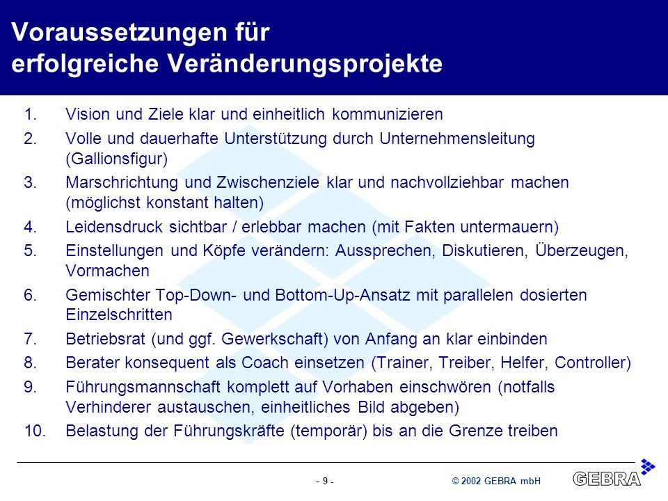 - 9 -© 2002 GEBRA mbH Voraussetzungen für erfolgreiche Veränderungsprojekte 1.Vision und Ziele klar und einheitlich kommunizieren 2.Volle und dauerhaf