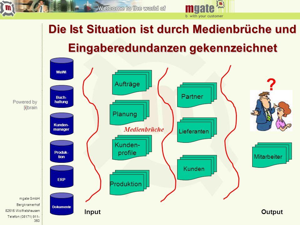 mgate GmbH Bergkramerhof 82515 Wolfratshausen Telefon (08171) 911- 350 Powered by [i]brain Die Ist Situation ist durch Medienbrüche und Eingaberedunda